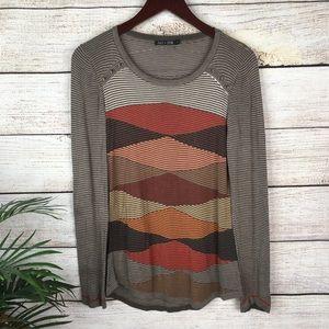 NIC + ZOE Brown Red Orange Striped Sweater Medium